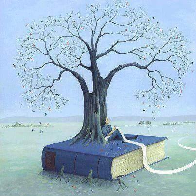Assis sur un livre