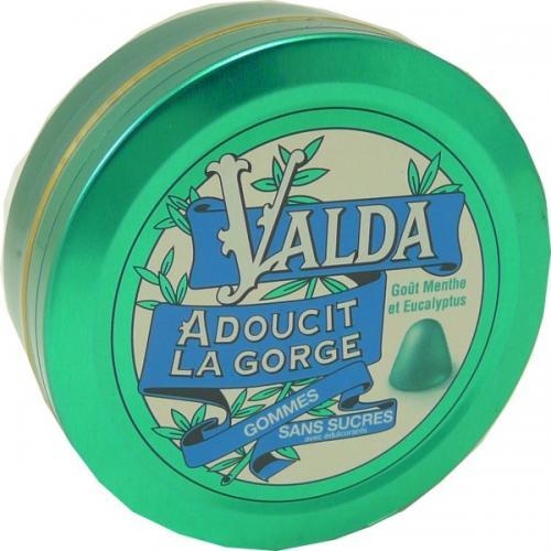 Valda adoucit la gorge pastilles gout menthe eucalyptus sans sucres
